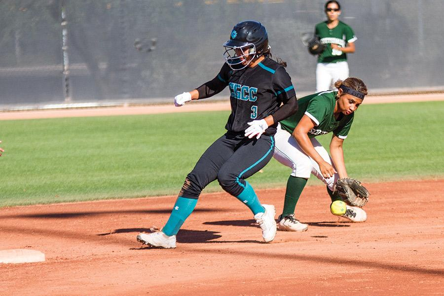 As+Coyotes+player%2C+Ryland+Estrada+runs+to+second%2C+she+hits+the+ball%2C+causing+SCC+second+baseman++Rayven+Cannon+to+fumble+the+ball.+This+secured+Estrada%27s+position+and+set+up+her+team+for+a+prime+scoring+opportunity.