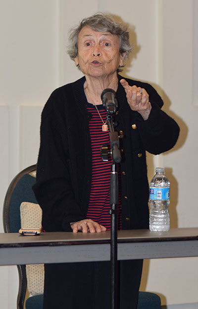 "Helen Handler, an 87-year-old Polish Jew who survived  Auschwitz, the largest German extermintation camp in World War II, talks of her 18-month incarceration at the camp where she lost all of her family, including a sibling, mother, aunts and uncles. She said that she made it through by her faith in God, the ultimate goodness of humanity and the hope that some of her family would survive. She never knew each night as she saw the fire and smoke rise from the gas chambers if any of her relatives were inside. It is estimated that more than one million people lost their lives in the Auschwitz camp alone. After her discussion with a crowd of more than 150 people in attendance, Handler signed her book, ""The Risk of Sorrow: Conversations With Holocaust Survivor, Helen Handler,"