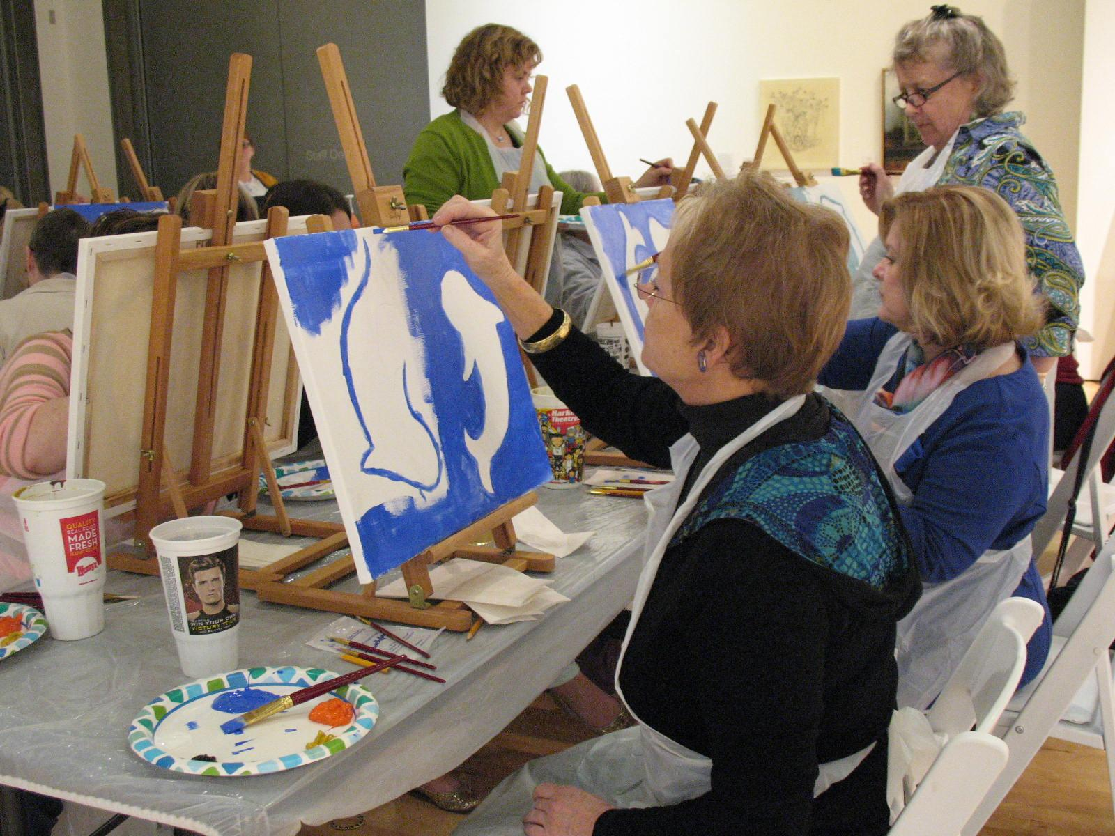At the Art After Work class, participants learn to paint famous pieces of art as a way to wind down from a long day of hard work. Participants at any skill level are invited to join the class.