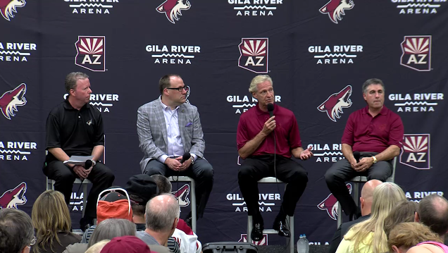 Arizona+Coyotes+general+manager+Don+Maloney+answers+a+question+during+the+Ice+Den+town+hall+meeting+on+July+7.+Directly+to+his+left+is+Coyotes+coach+Dave+Tippett%2C+and+to+his+right+are+team+president+Anthony+LeBlanc+and+play-by-play+announcer+Matt+McConnell.