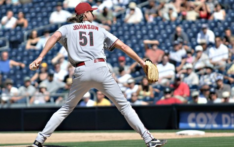 Former Arizona Diamondbacks pitcher Randy Johnson prepares to throw a pitch during a 2008 start against the San Diego Padres. Johnson will be inducted into the Baseball Hall of Fame on July 26 after an illustrious career which saw him win 303 games and record 4,875 strikeouts.