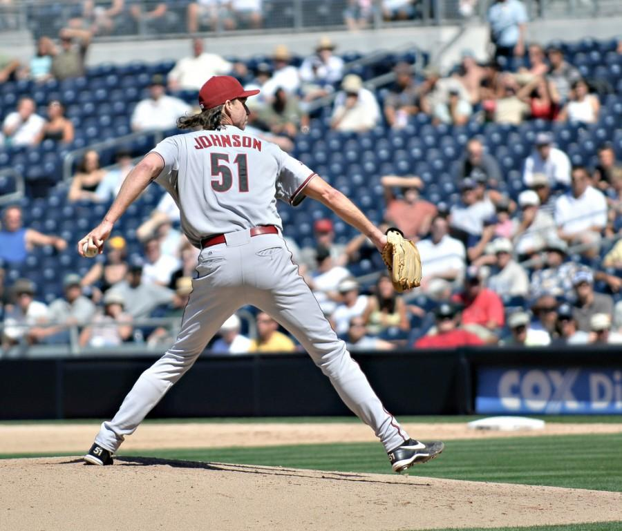 Former+Arizona+Diamondbacks+pitcher+Randy+Johnson+prepares+to+throw+a+pitch+during+a+2008+start+against+the+San+Diego+Padres.+Johnson+will+be+inducted+into+the+Baseball+Hall+of+Fame+on+July+26+after+an+illustrious+career+which+saw+him+win+303+games+and+record+4%2C875+strikeouts.