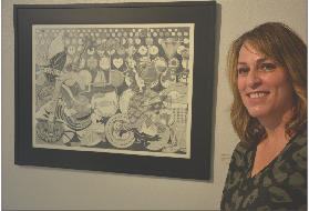 Melissa Schleuger stands opposite her drawing