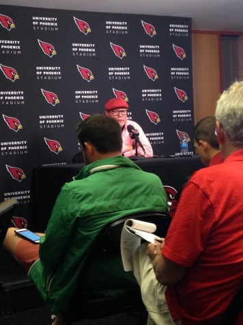 Arizona Cardinals head coach Bruce Arians speaks to the media at the team's practice facility in Tempe on Monday. The Cardinals defeated the Bengals 34-31 on Sunday night.