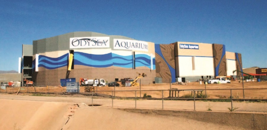 The OdySea Aquarium, located just off the 101 on Native American land, is slated to cover 200,000 square feet and hold two million gallons of water. It is set to open in July.