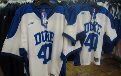Duke lacrosse jerseys on display. The high-profile 2006 case involving three members of the team continues to make waves today.