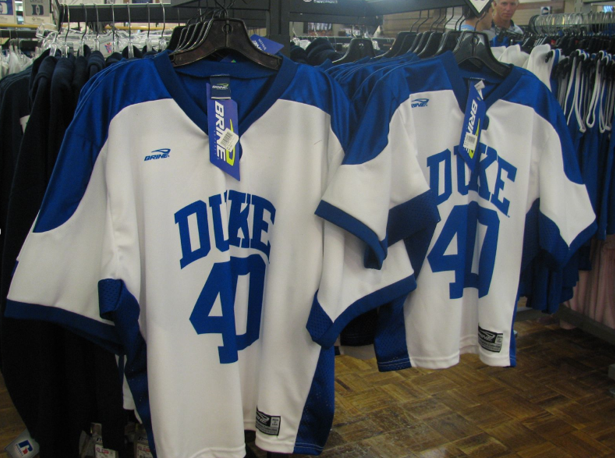 Duke+lacrosse+jerseys+on+display.+The+high-profile+2006+case+involving+three+members+of+the+team+continues+to+make+waves+today.