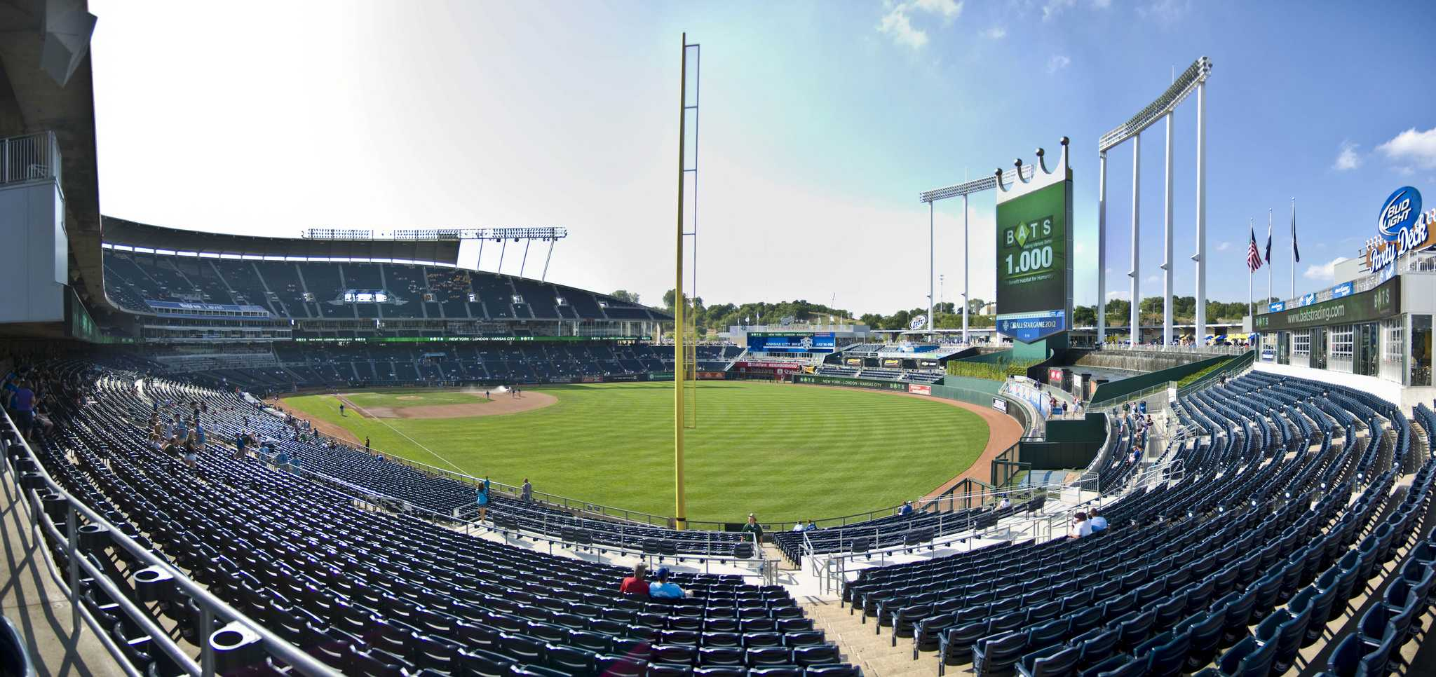A panoramic view of Kauffman Stadium in Kansas City, Mo. The Kansas City Royals have played in the World Series the last two seasons, losing to the San Francisco Giants in 2014 but defeating the New York Mets in 2015.