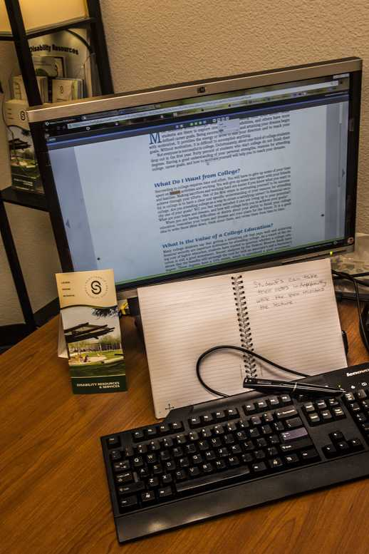 Pictured are some of the many accommodations SCC provides for its disabled students, including a livescribe pen and the Kurzwil 3000 reading assistance program.