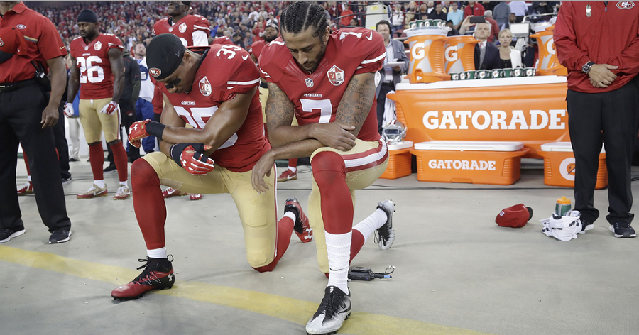 Colin Kaepernick (7) started a kneeling protest that has inspired many, just as it has angered many.