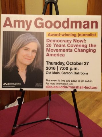Amy Goodman spoke at ASU's Tempe campus on Thursday, Oct. 27.