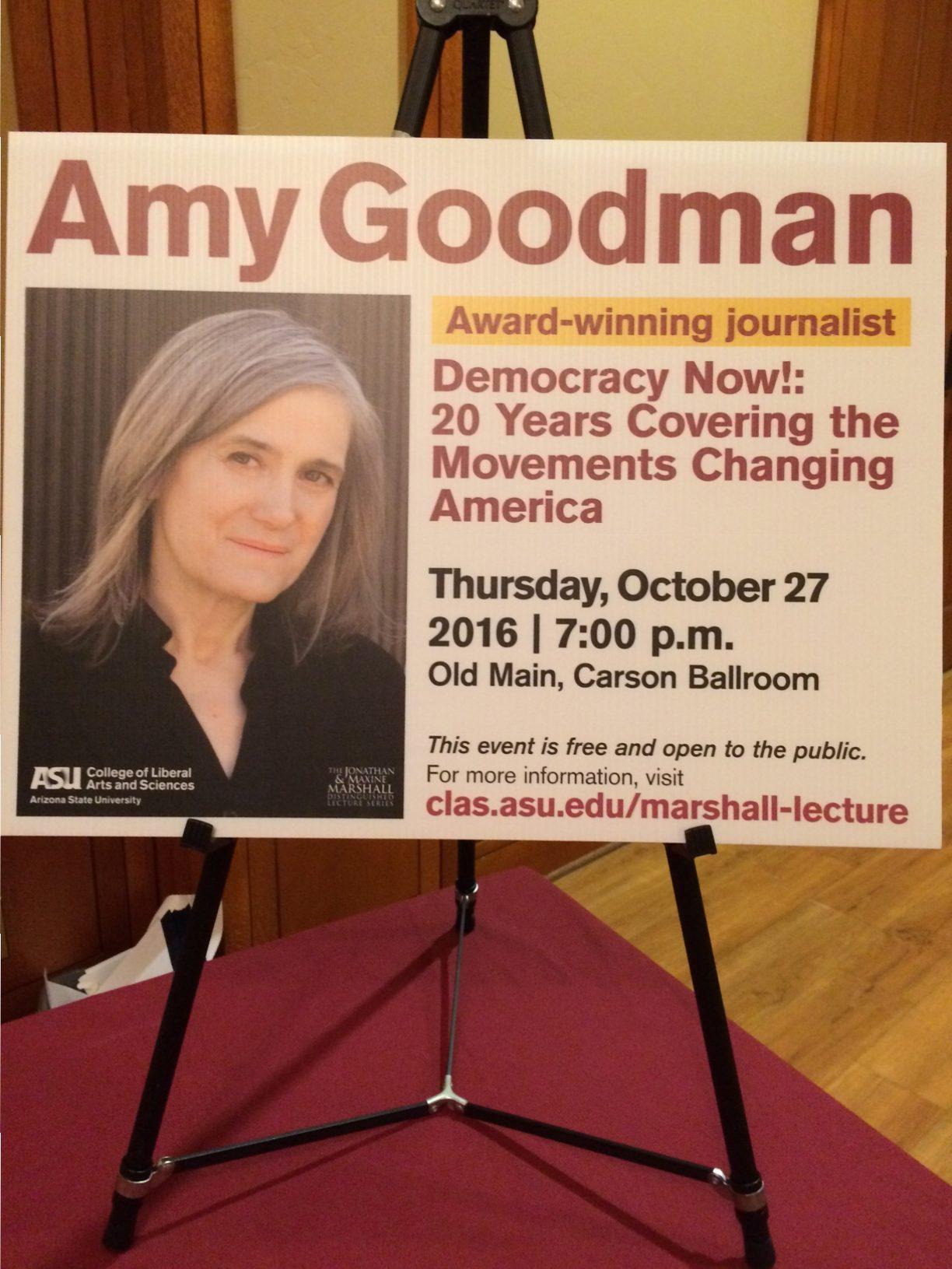 Amy Goodman spoke at ASU's Tempe campus on Thursday, Oct. 27.