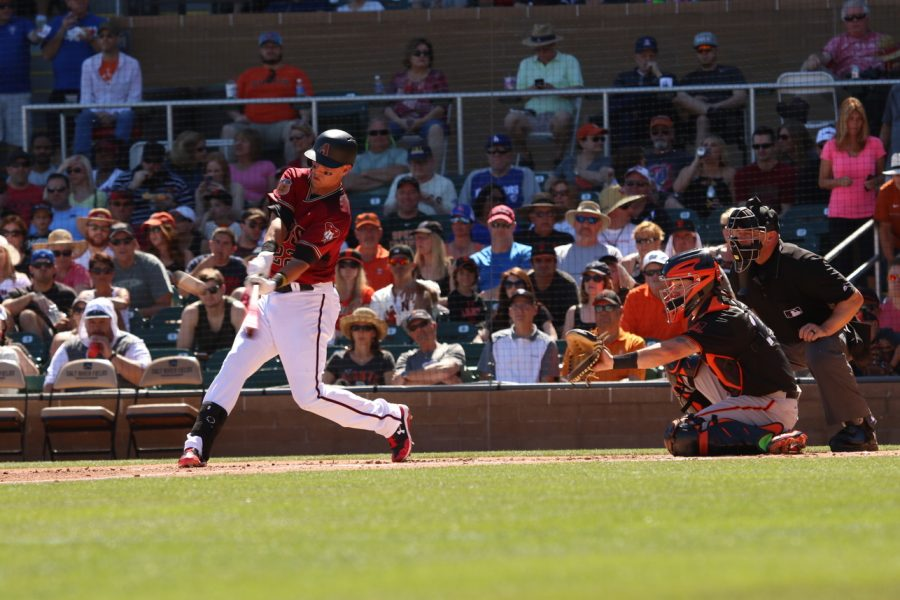 Diamondbacks baseman Jake Lamb hit the ball into the outfields for bases during the Mar.11 Spring Training win against the San Francisco Giants 5-1