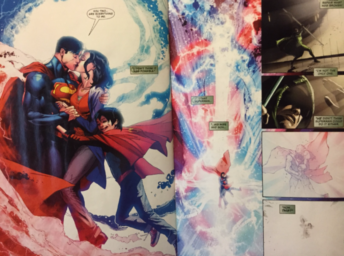 Pre-Flashpoint and New 52 versions of Lois and Clark merge together, the blast radiating over the DCU.