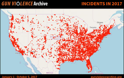 A map of reported gun related happenings in the United States this year thus far.