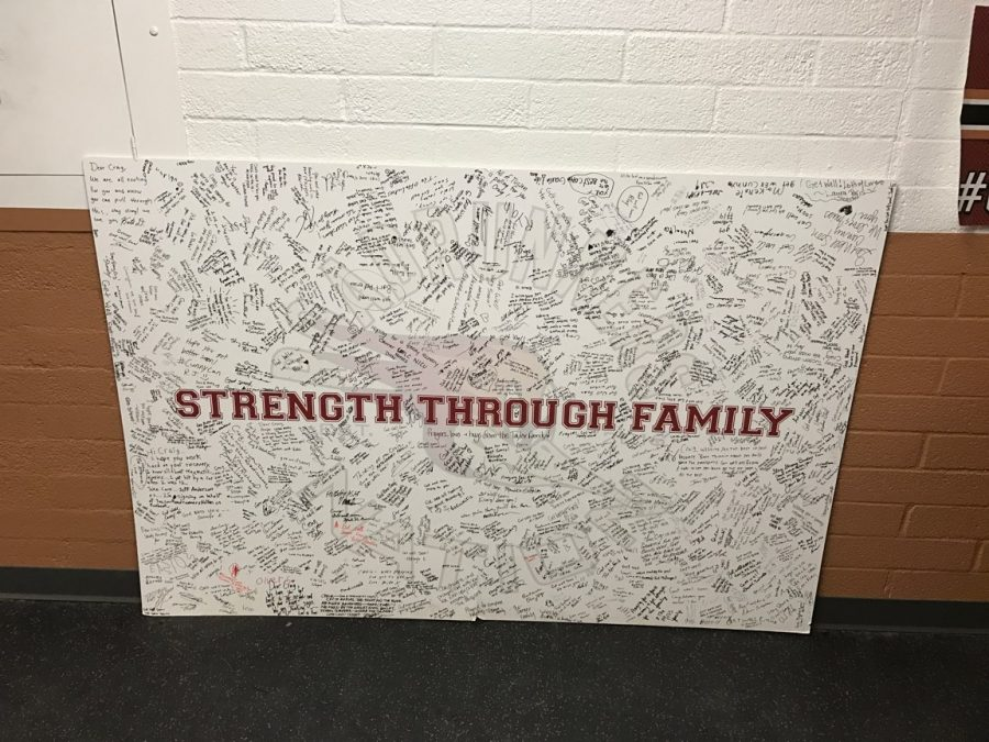 A poster board signed by family and friends of Cunningham.