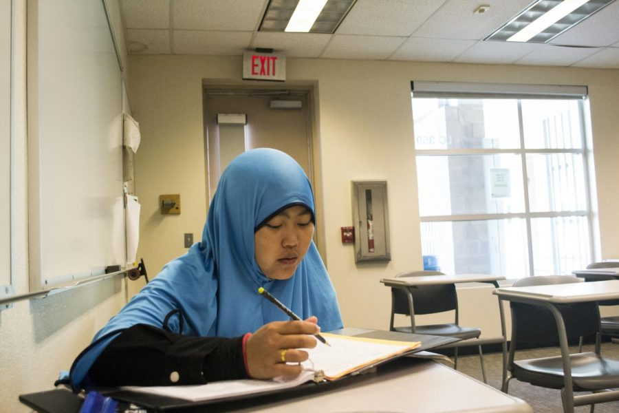 Desfa Yusmalina studying in her English class on campus of SCC