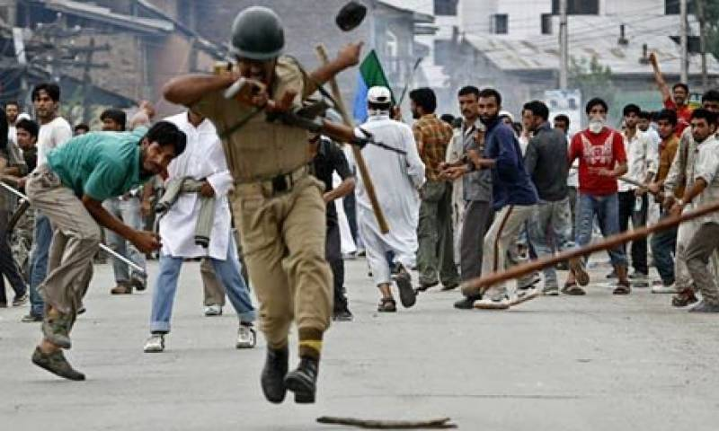 In occupied Kashmir, thousands of people defying curfew and other restrictions.