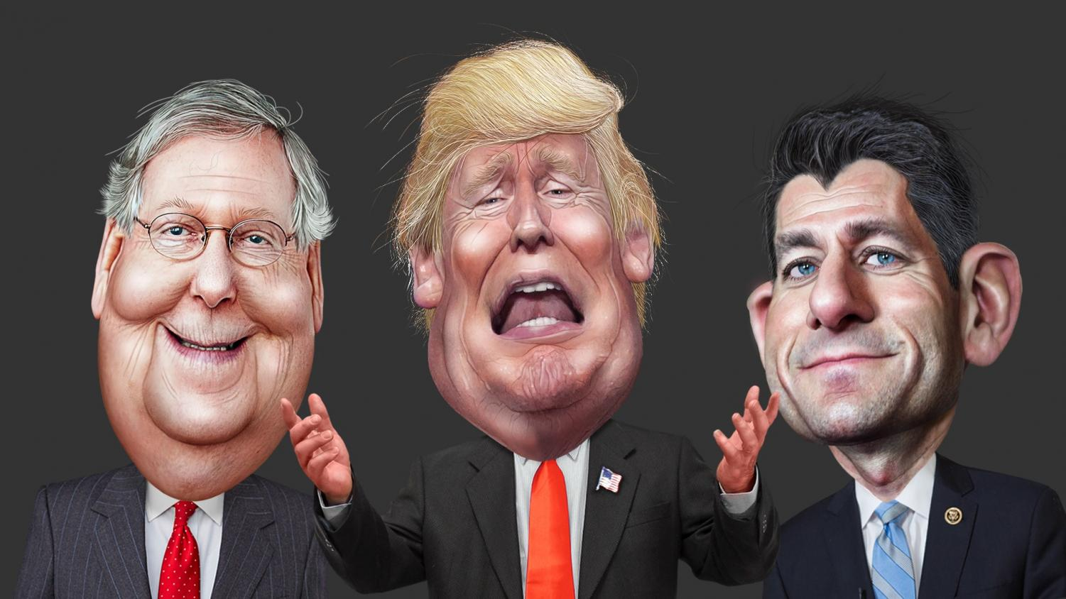 Caricature of Mitch McConnell, Donald Trump and Paul Ryan
