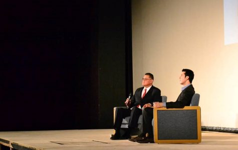 Jonathan Higuera and Roberto Gudino answering the questions from the audience at Performance Arts Center SCC