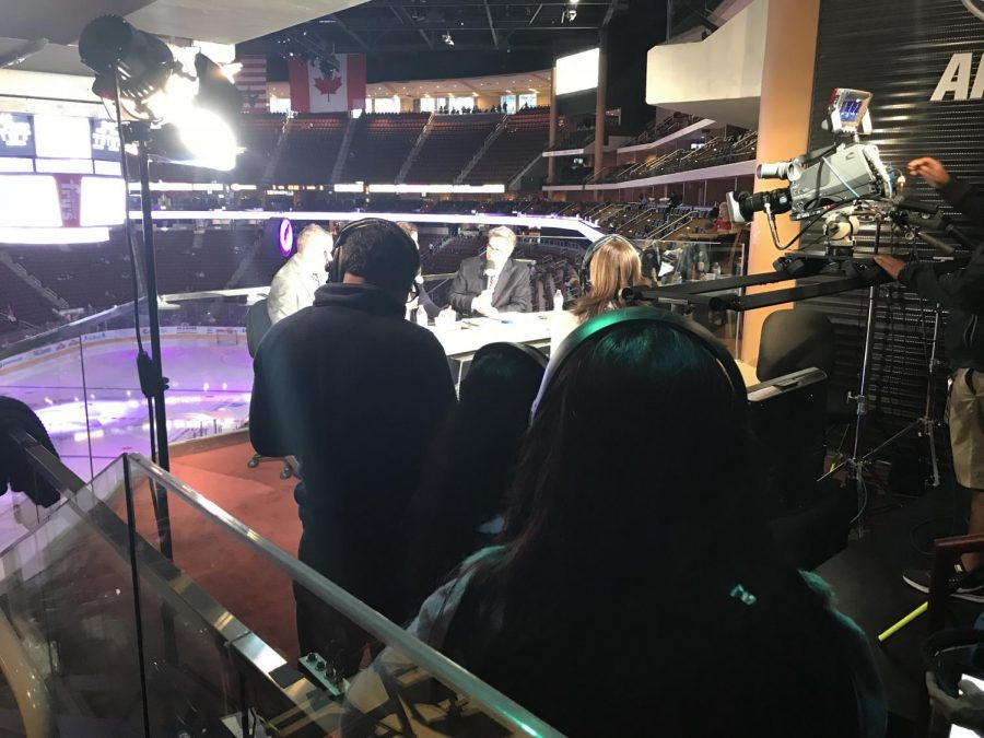 Students on set with Fox Sports Arizona watching a live broadcast