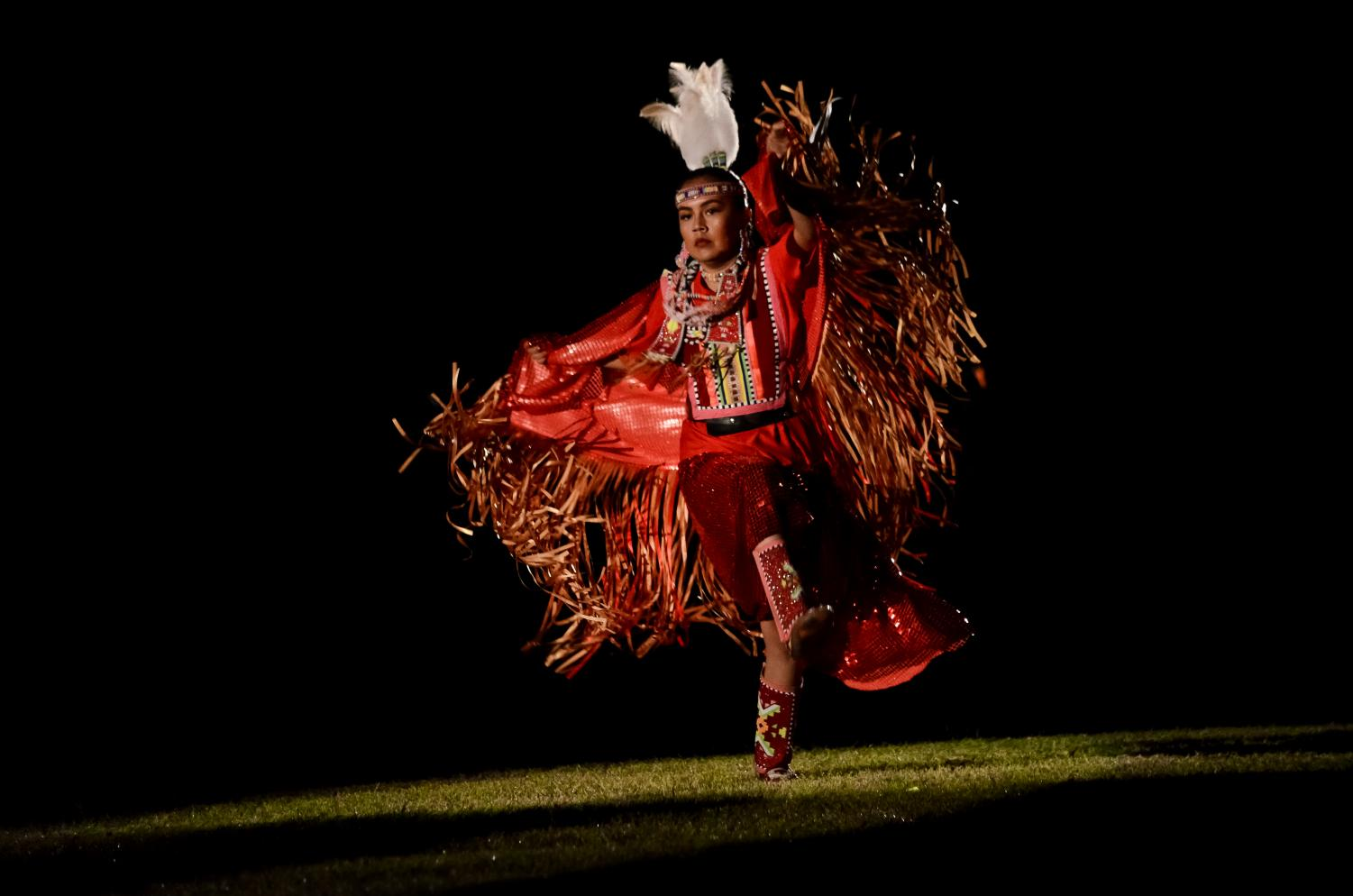 A fancy shawl dancer competes in the spotlight contest at Red Mountain Eagle Pow-Wow.