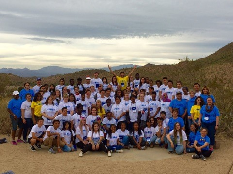Students gathers for group photo during the Global Leadership Retreat