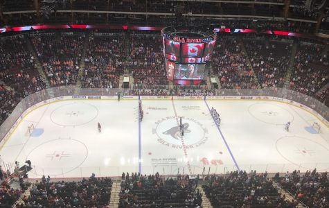 The Coyotes and The Oilers standing for the Canadian National Anthem