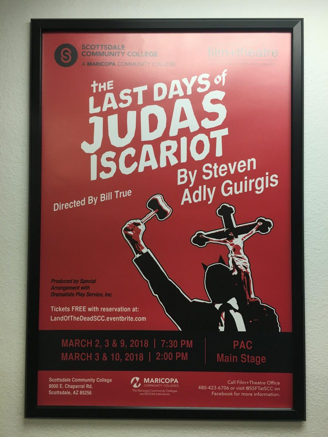 Poster of the play inside the SCC Theater Building