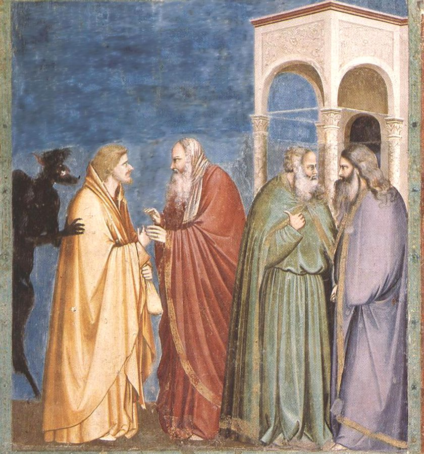 A mural of  Judas receiving payment for his betrayal.