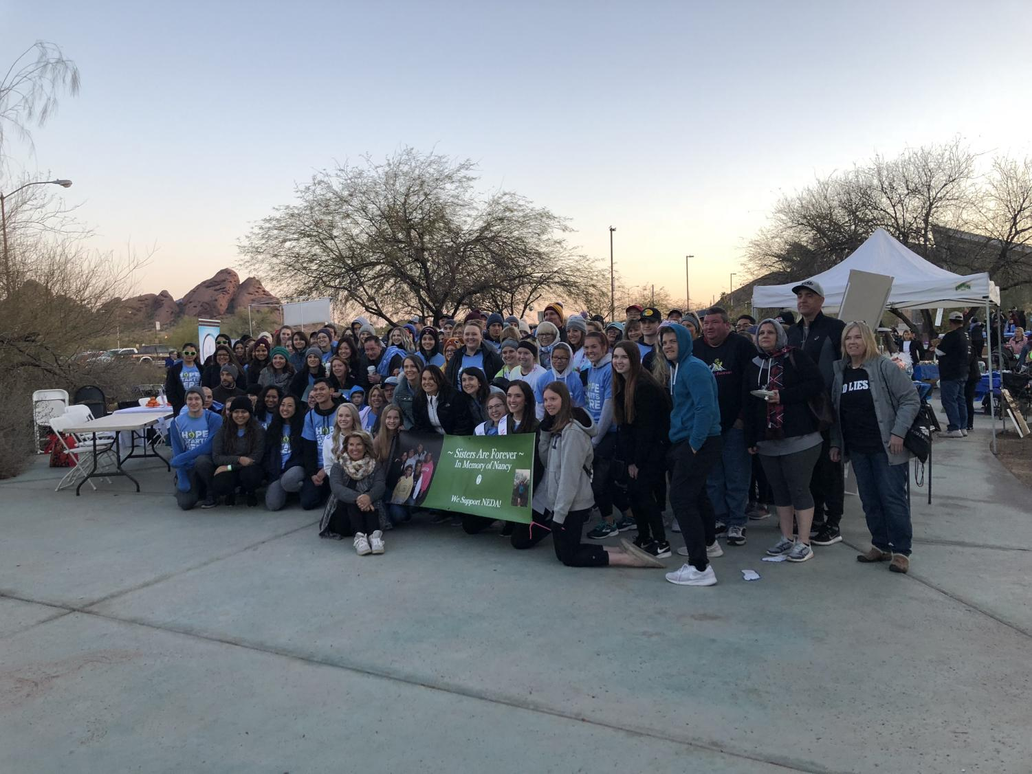 The group of the people who participated in the awareness walk at the Phoenix Zoo