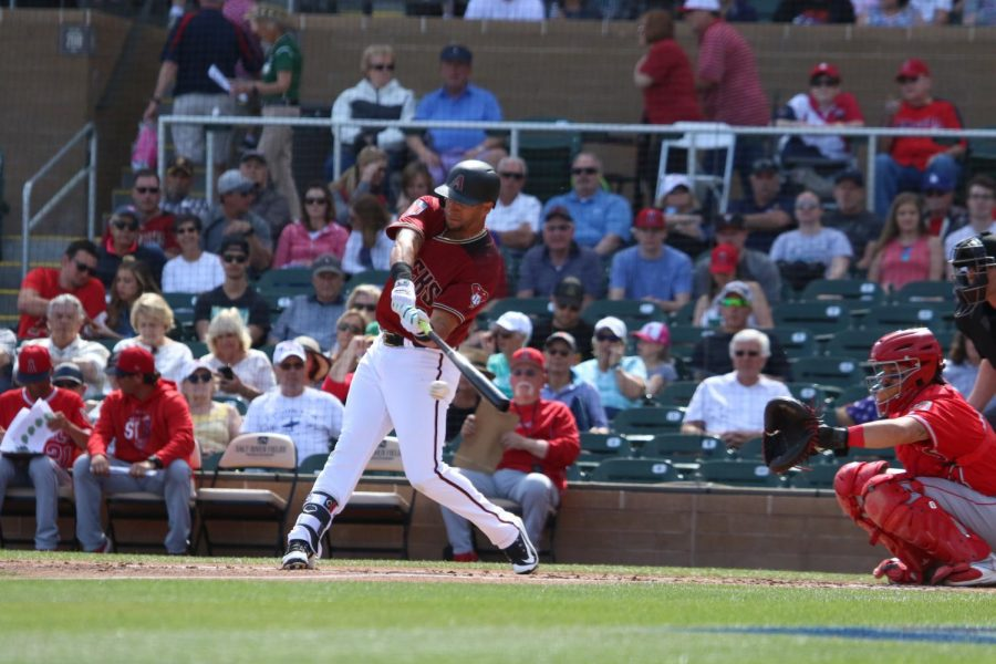 Outfielder David Peralta hits the ball in the first inning against the Los Angeles Angels of Anaheim in a spring training game on Mar. 6. The Diamondbacks won later in the game 5-4.
