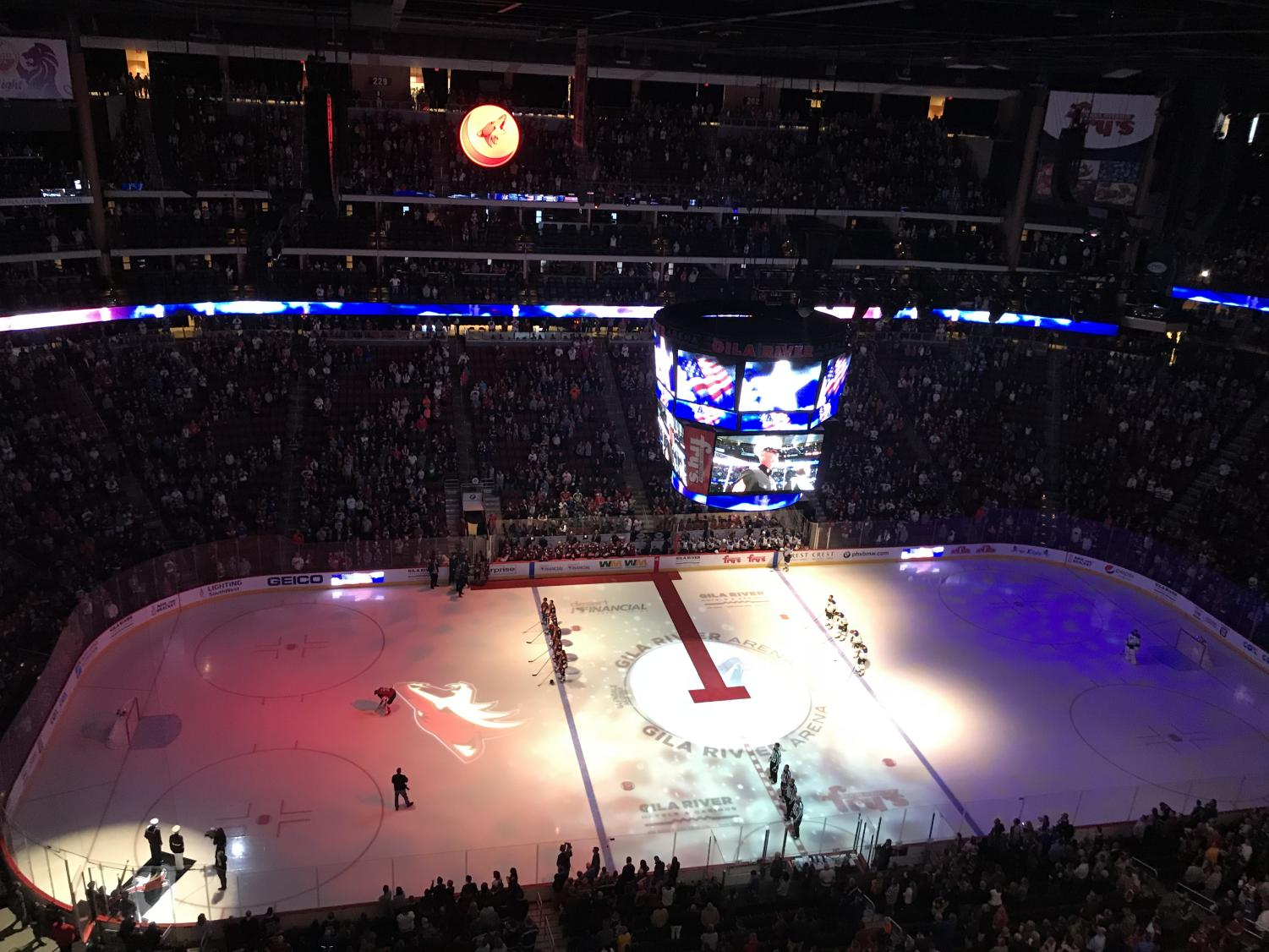 Arizona Coyotes and St. Louis Blues during the National Anthem