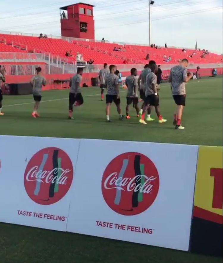 Phoenix Rising players warm up prior to the match against Swope Park Rangers on April 21, 2018.