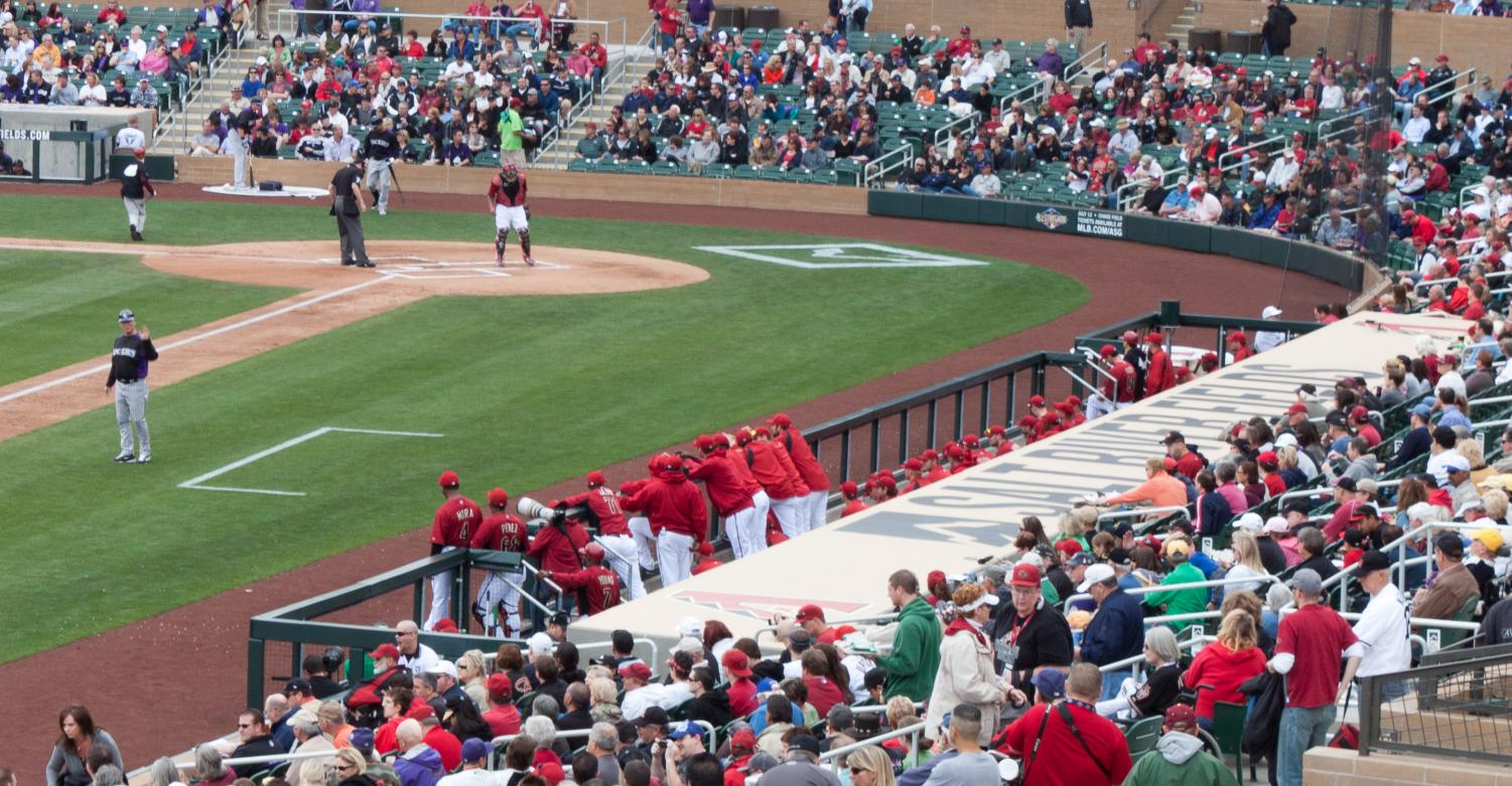 The Arizona Diamondbacks in the dugout in a 2011 spring training game