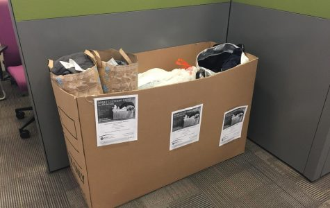The clothing donation box at the Veteren's Club here at SCC