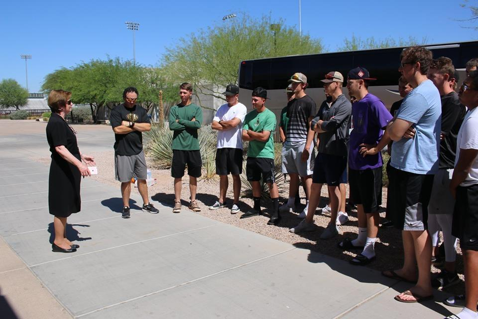 SCC president Dr. Jan Gehler addresses the baseball team before they leave for Enid, OK photo courtesy SCC