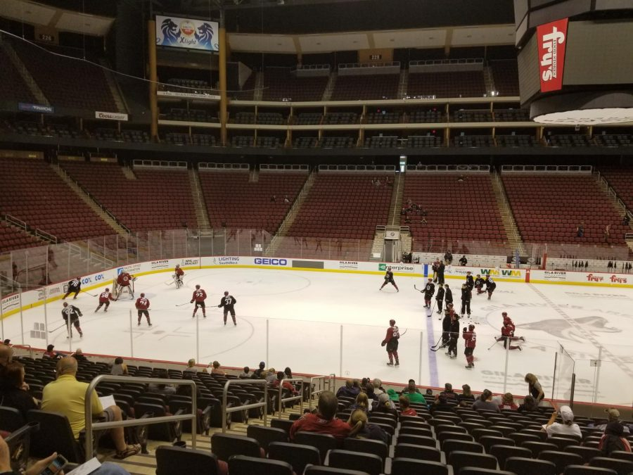 Coyotes Prospects working on drills at Development Camp at Gila River Arena, June 28, 2018.
