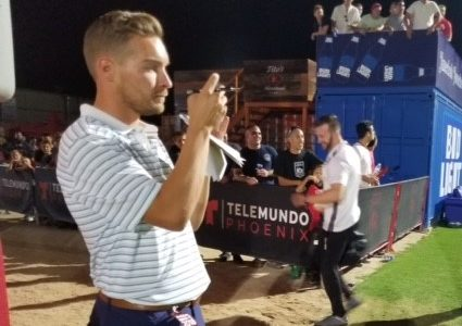 Reporter Jacob Anderson doing his thing at the Phoenix Rising game Friday night.