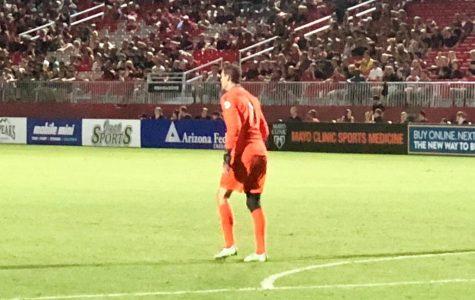 Rising Keeper, Carl Woszczynski awaits the final whistle Friday night, marking his fifth consecutive shutout