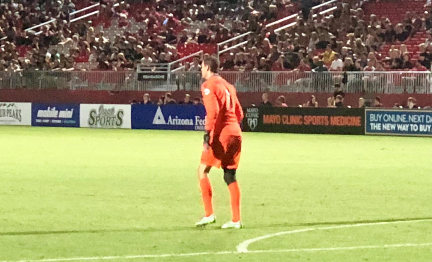 Rising Keeper, Carl Woszczynski awaits the final whistle Friday night, marking his fifth consecutive shutout
