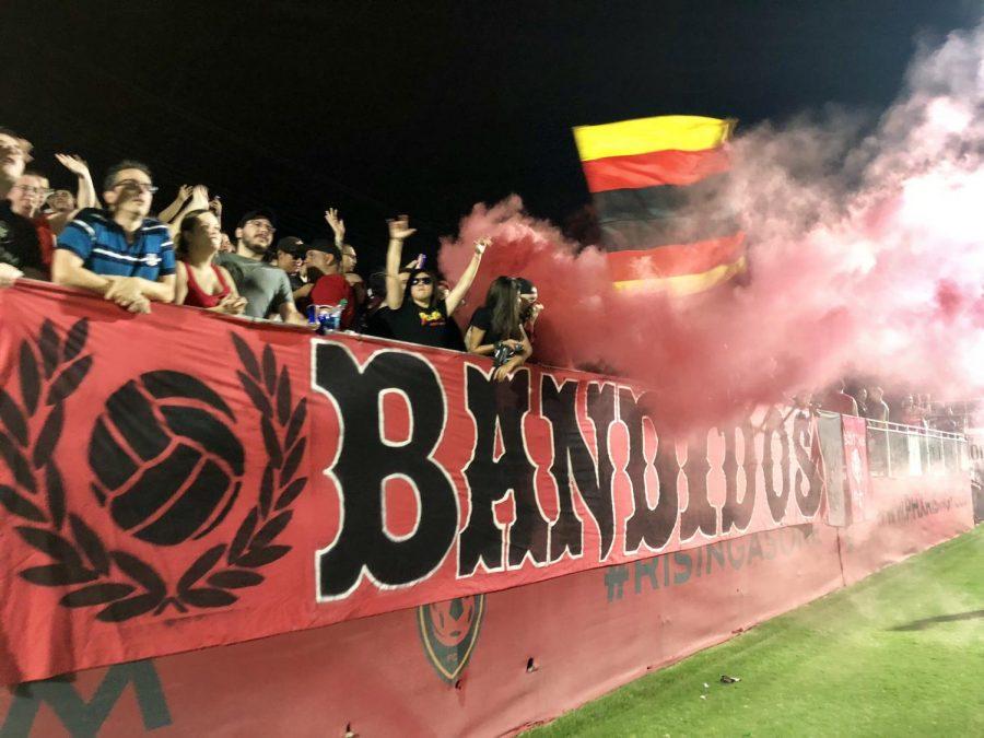 The+Bandidos+celebrating+the+Rising%27s+4-0+win+over+San+Antonio+FC