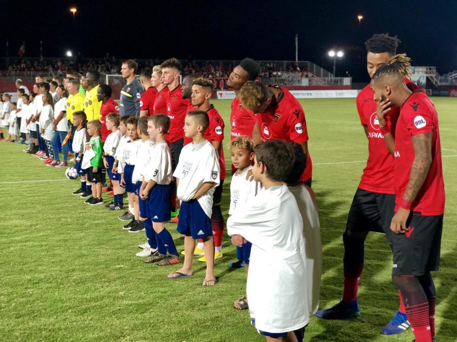 Phoenix Rising FC starting 11 line up for the national anthem