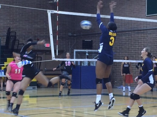 A Phoenix college player leaps for a block during their opening round win in the