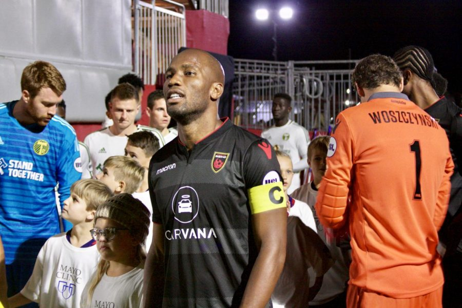 Phoenix Rising FC owner-captain, Didier Drogba, before taking the pitch