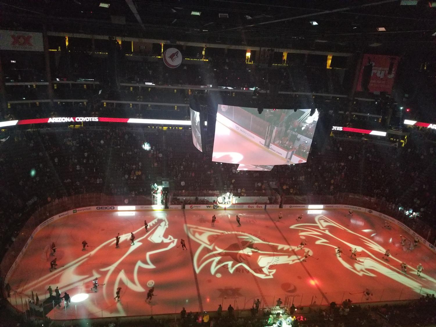 The Coyotes and Predators hit the ice before the game.