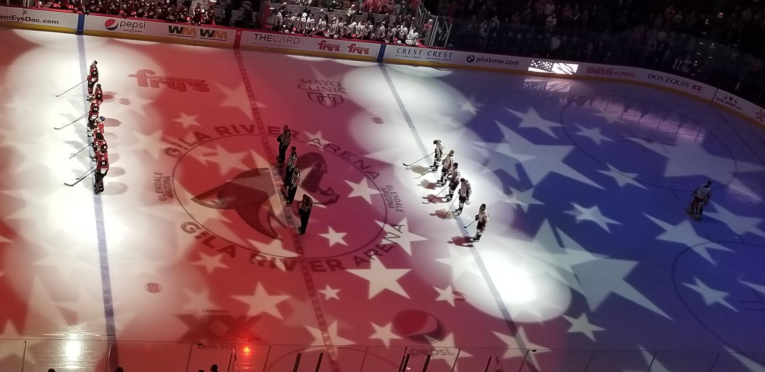 The Coyotes and Capitals during the National Anthem.