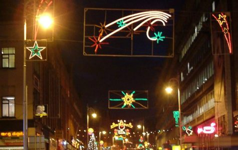 Christmas light display in Dublin, Ireland looking down Georges Street