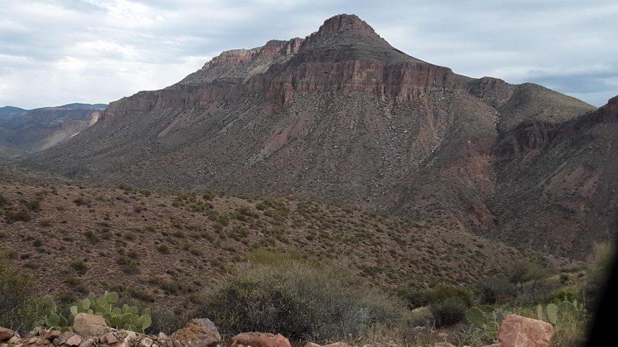 A fortresslike rock feature north of Globe, AZ.