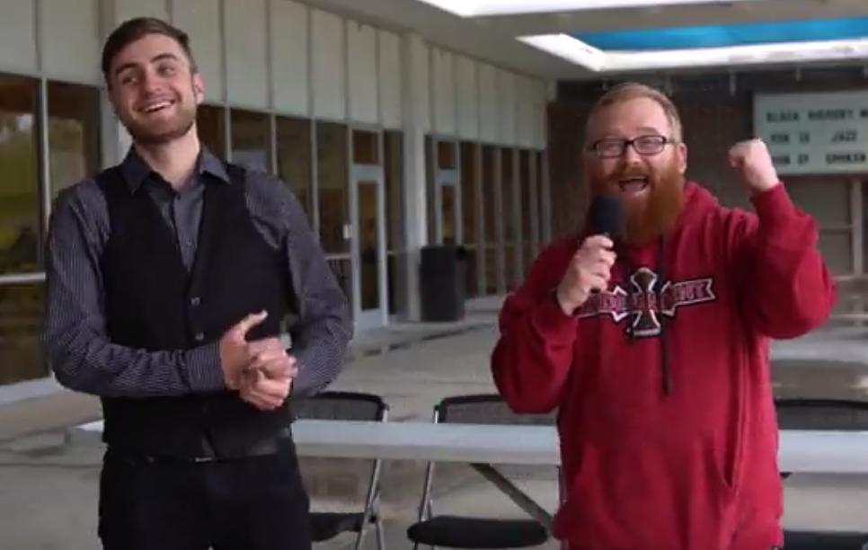 Reporter Donovan Krah interviewing SCC student